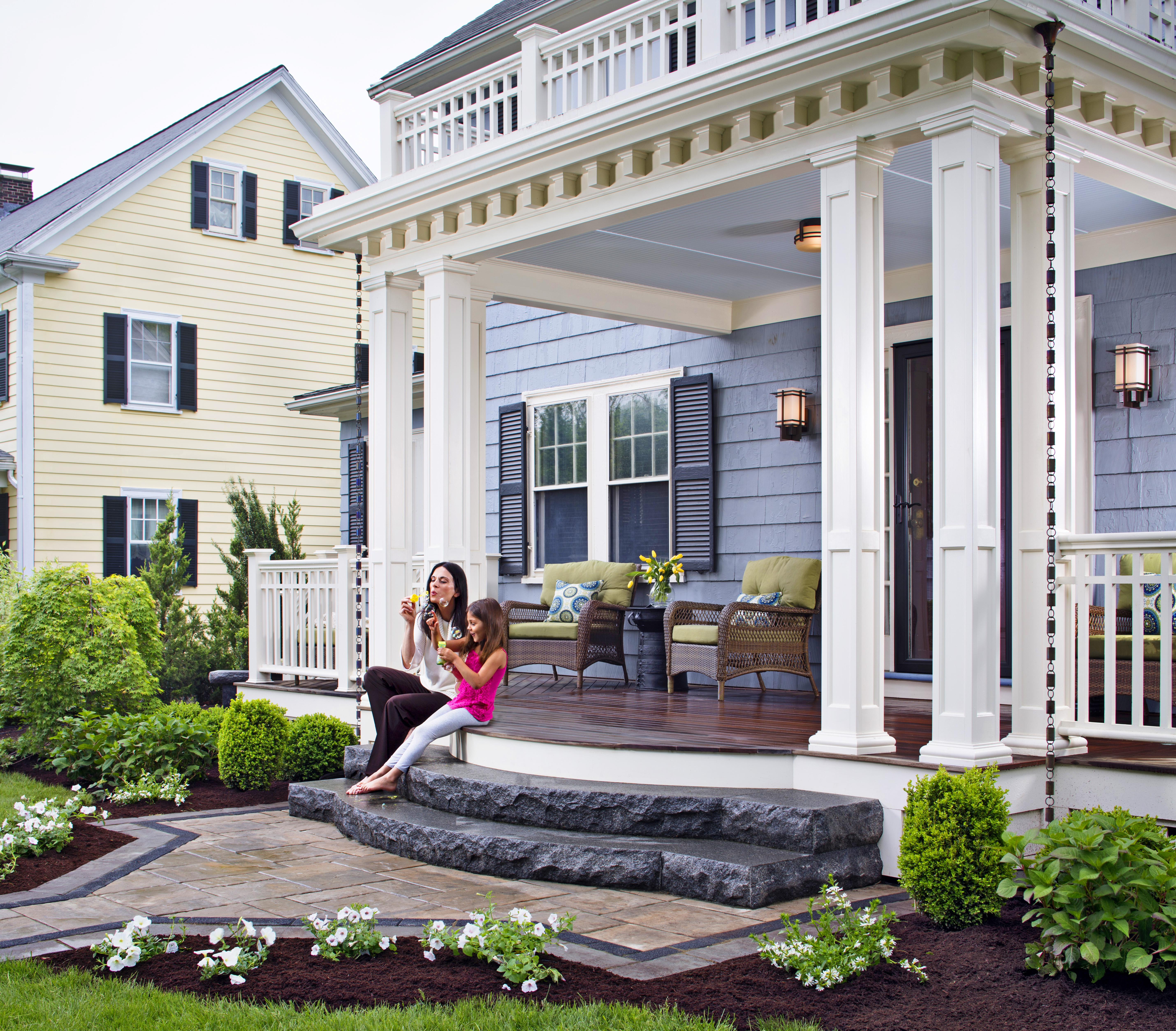 Front porches a pictorial essay suburban boston decks for House plans with large front and back porches