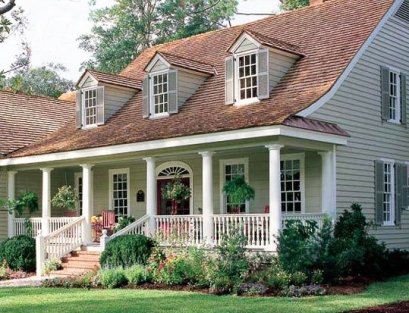Farmers porch with wood shingles