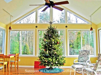 Sunroom at Christmas, Bedford MA