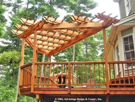 Bay shaped pergola in Stow, MA