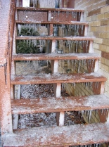 Icy deck steps