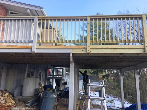 Damaged deck being repaired