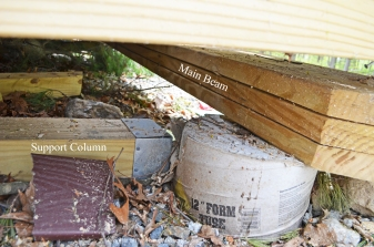Deck beam and columns in disarray